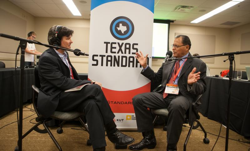 Texas Standard Host David Brown, left, with Senator José Rodriguez (D-El Paso) Ilana Panich-Linsman/KUT