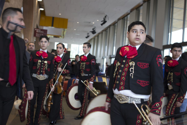 High school students participating in the UIL State Mariachi Festival arrive at the UTRGV Performing Arts Center in Edinburg, Texas.