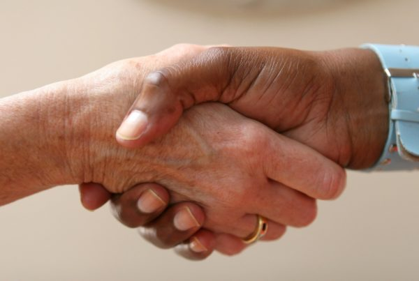 close-up of a handshake