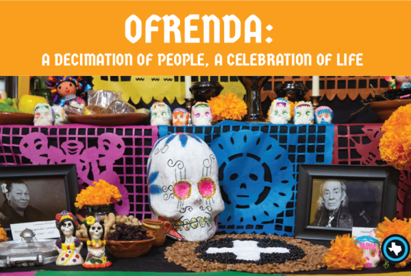 Ofrenda banner: a collage of people and objects remembering those lost to coronavirus