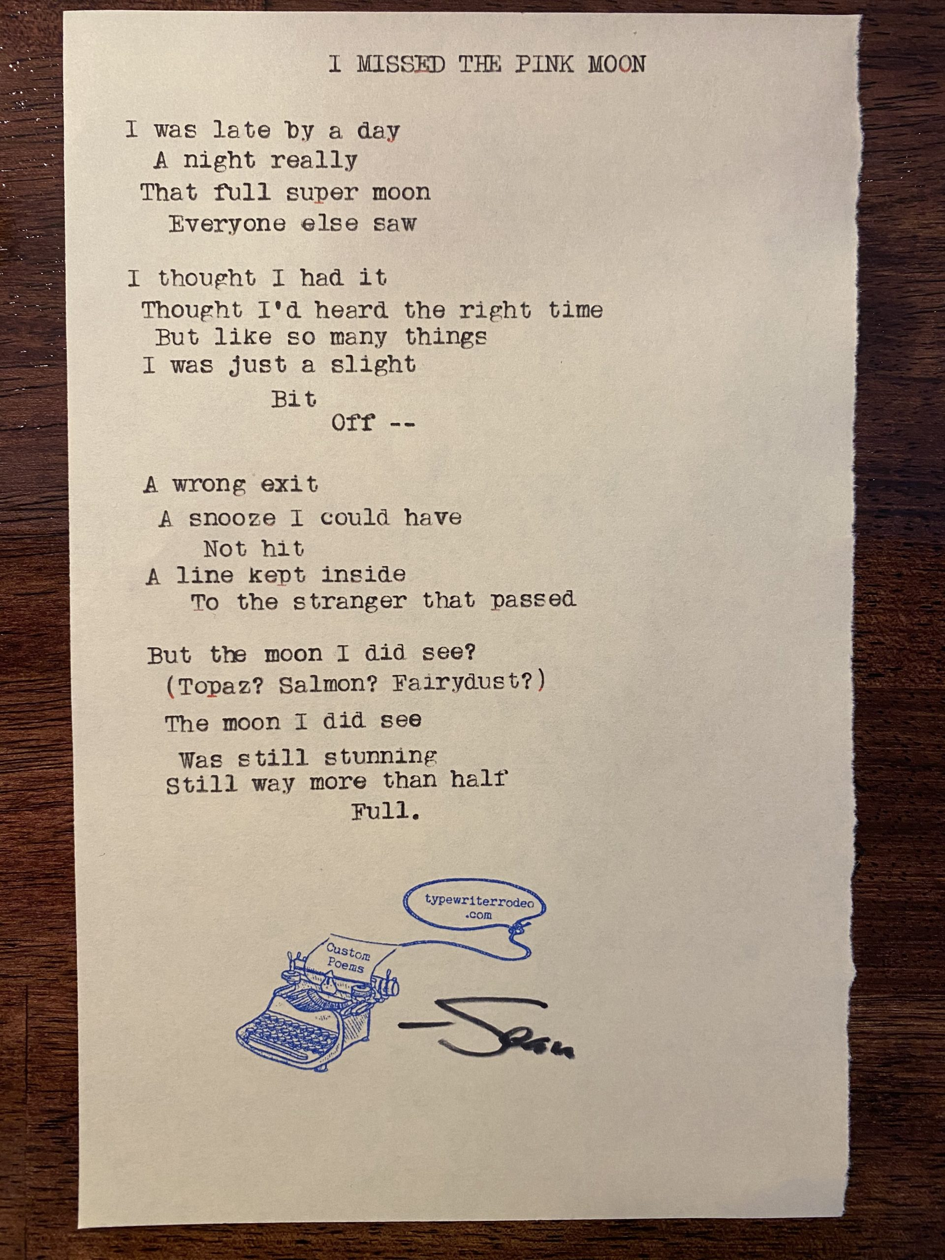 a photo of the typewritten poem