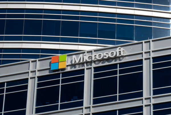closeup of a Microsoft sign on a corporate buidling